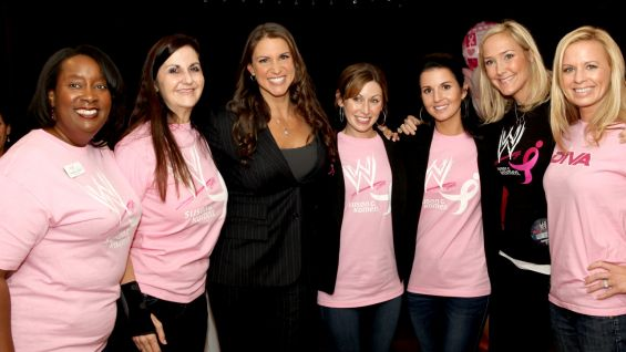 WWE Executive Vice President Stephanie McMahon meets breast cancer survivors and guests from Susan G. Komen.