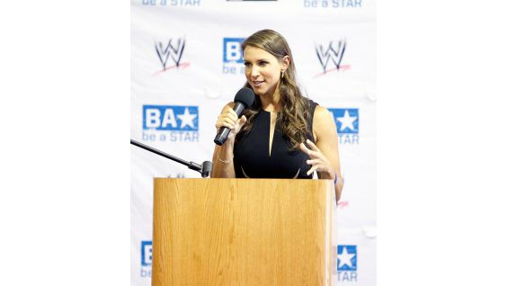 McMahon encourages the kids to continue to take a stand against bullying.