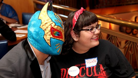 """Sin Cara poses for a photo with Mia, aka """"Punkie."""""""