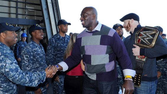 O'Neil and Sheamus greet the crew of the USS New York.