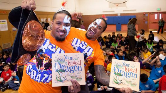 WWE Tag Team Champions The Usos host a Reading Celebration with WWE and We Give Books.