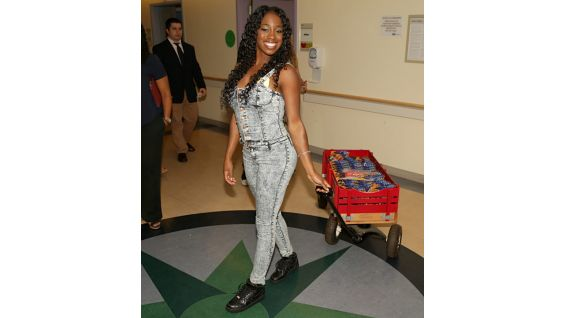 Naomi delivers toys to the youngsters at Mattel Children's Hospital UCLA.