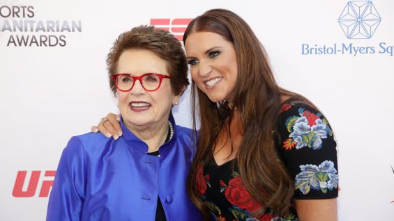 Stephanie poses with tennis legend Billie Jean King.