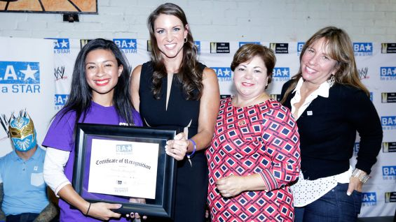 The honorees pose with McMahon, Congresswoman Sanchez and CEO of The Creative Coalition, Robin Bronk.