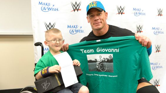 John Cena meets Make-A-Wish's Giovanni in Fresno, Calif., before SmackDown.