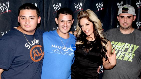 The Make-A-Wish teen and his brothers are excited to meet the former Divas Champion.