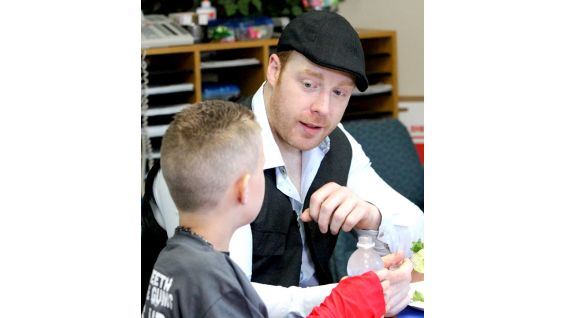 As the winner, Lex had lunch with his Reading Buddy, Sheamus.