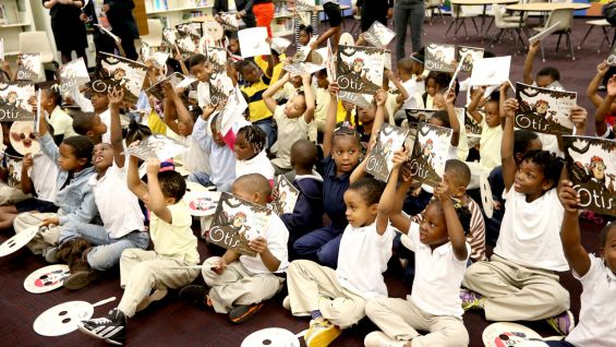 Every child got a copy of the book to take home.