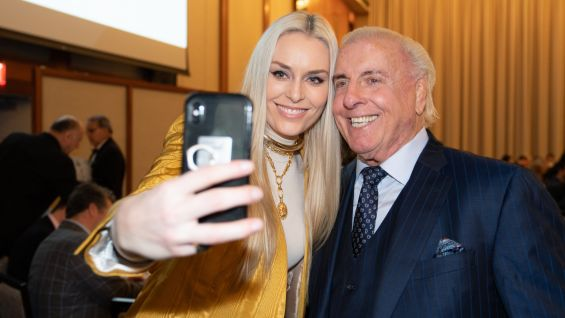 He then takes a selfie with Olympic Gold Medalist Lindsey Vonn.