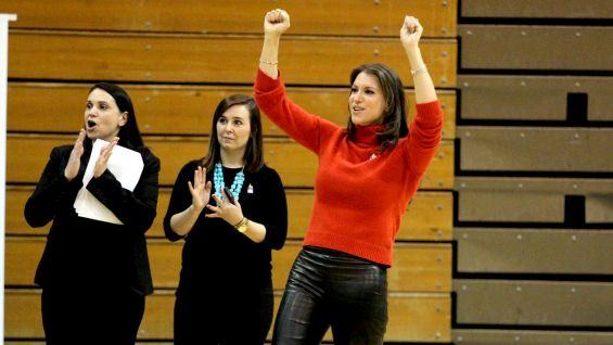 WWE Chief Brand Officer Stephanie McMahon cheers on the athletes.