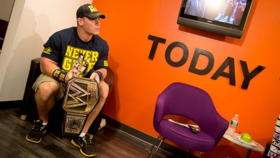 "The WWE Champion waits backstage at ""Today"" before meeting Nick and his family."