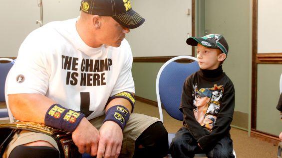 John Cena says hello to Isaiah.