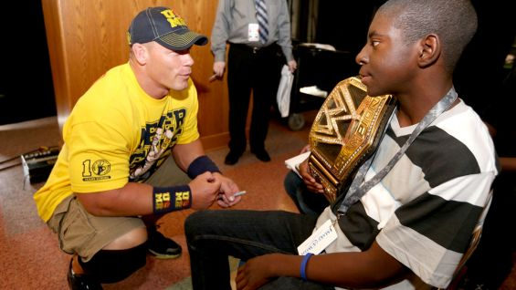 WWE Champion John Cena meets Anton and his family before Raw in Sioux City, Iowa.