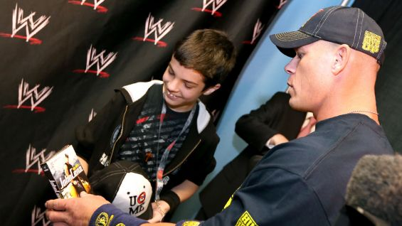 Zachary is all smiles when meeting his favorite WWE Superstar, John Cena.