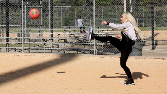 Liv Morgan shows off her impressive kickball skills.