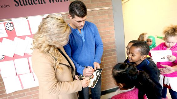 After the celebration, Rhodes and Natalya signed autographs for the kids.