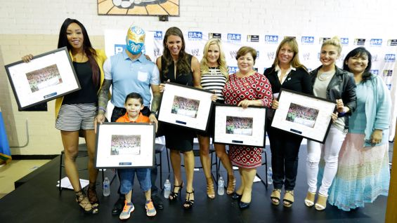 WWE Chief Brand Officer Stephanie McMahon joined Sin Cara, Alicia Fox, actress Cassie Scerbo and dignitaries at a Be a STAR rally during SummerSlam Week 2014 in East Los Angeles.