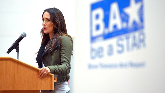 Brie Bella talks to the students at Mayport Middle School.