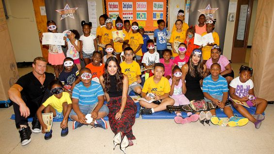 The Bella Twins and Dolph Ziggler host a Reading Celebration in Staten Island, N.Y., with First Book during SummerSlam Week.