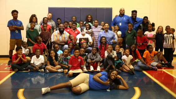 Mark Henry, Sin Cara and Darren Young bring smiles to Orlando's Smith Community Center.