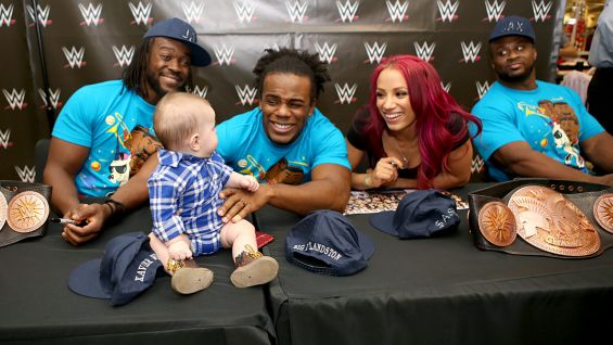 The New Day and Sasha Banks chat with a young member of the WWE Universe.