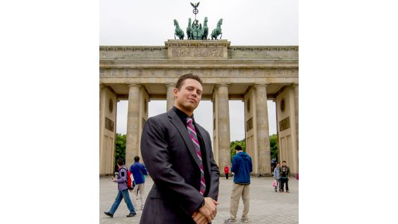 The Miz stands in front of the Brandenburger Gate in Berlin, Germany.