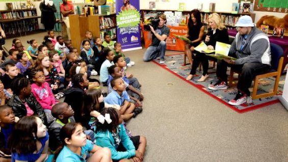 WWE and Pearson Foundation kick off a reading celebration at Lake Weston Elementary School in Orlando, Fla.