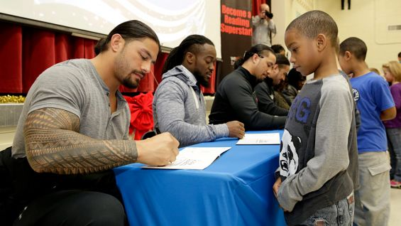 Following the WrestleMania Reading Celebration, the children meet their favorite WWE Superstars and Divas.