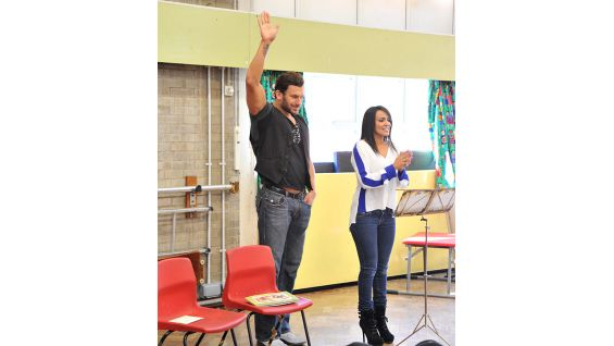 Fandango and Layla answer questions from the students, who are between the ages of 8 and 10.