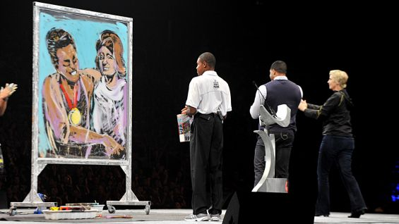 """America's Got Talent"" contestant David Garibaldi painted an impromptu portrait of Eunice Kennedy Shriver, whose humanitarian work led to the birth of the Special Olympics."
