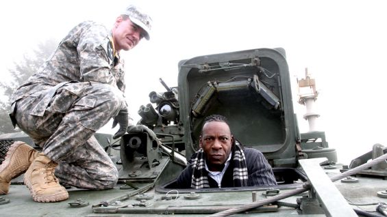 Booker T gets puts on his serious face when exiting the tank.