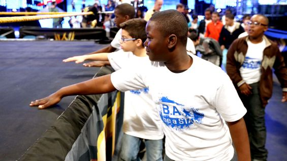 WWE announcer Josh Mathews hosted the anti-bullying assembly inside East Rutherford, N.J.'s IZOD Center alongside Brodus Clay, Tensai, the Funkadactyls and Hornswoggle.