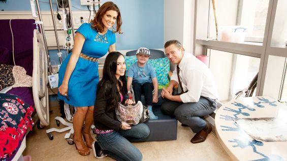 Eve Torres, Divas Champion AJ Lee and SummerSlam Host The Miz visit patients at Mattel Children's Hospital UCLA.