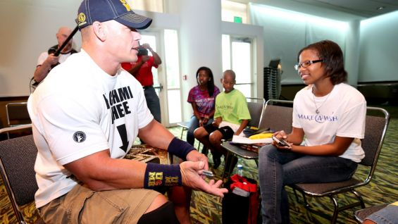 John Cena meets Brendi and her family before Raw in Charleston, S.C.