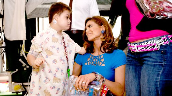 Fomer Divas Champion Eve meets one of her fans at Mattel Children's Hospital UCLA.