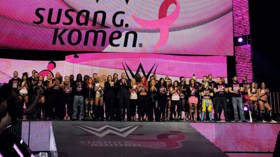 The WWE locker room comes to the ramp to show their support for breast cancer awareness on Raw in Boston.