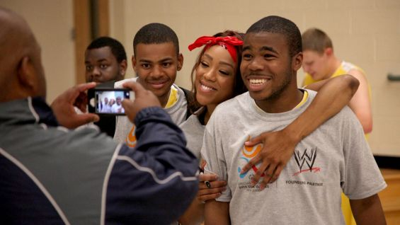WWE Superstars and Divas take part in a Special Olympics 2014 USA Games Basketball Game in North Carolina.