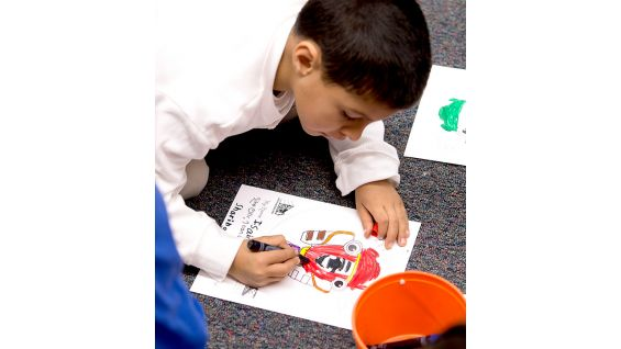 """The students participate in a craft project about the book """"Otis."""""""