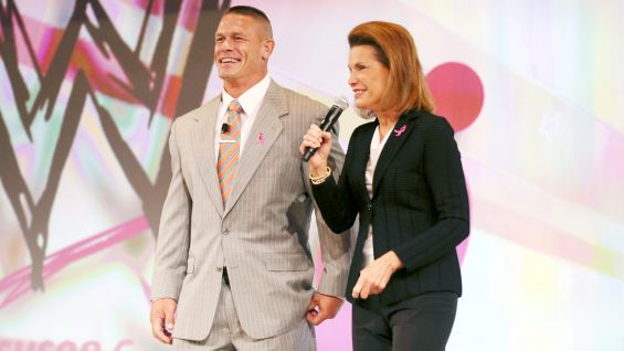 The WWE Champion is joined onstage by  Nancy G. Brinker, who founded the organization in her sister's honor.