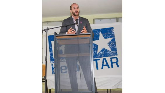 Cesaro talks to the students about the importance of Be a STAR's anti-bullying message.
