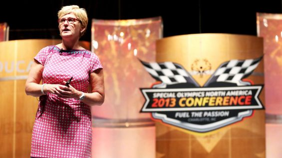 "Mary Ellen Curran, WWE's Vice President of Community Relations, presents ""WWE: Putting Smiles on People's Faces."""