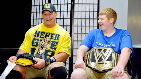 Cena shares a laugh with Brandon.