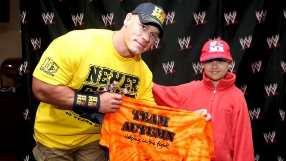 John Cena meets Autumn, 9, of Make-A-Wish.
