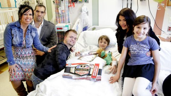 Vickie Guerrero, The Great Khali, Hornswoggle and Rosa Mendes put smiles on the faces of young patients at the Goryeb Children's Hospital at Morristown Medical Center.
