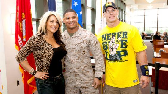 Divas Champion Kaitlyn and John Cena meet a U.S. Marine at The Walter Reed National Military Medical Center.