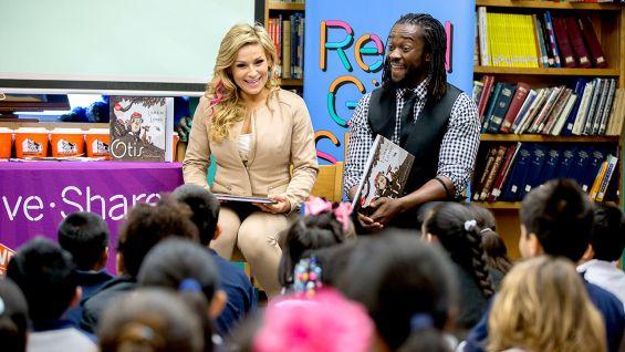 Kofi Kingston and Natalya host a Reading Celebration with Pearson Foundation at Blanton Elementary School in Austin, Texas.