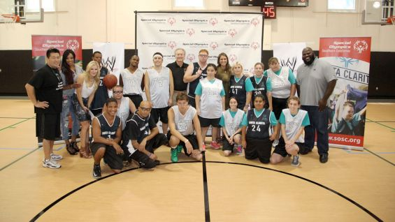WWE Superstars and Divas team up with Special Olympics for a SummerSlam week basketball game in Santa Clarita, Calif.