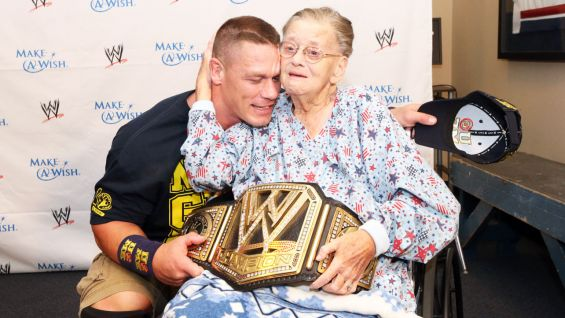 Cena shares a special moment with Janet, who is a huge WWE fan.