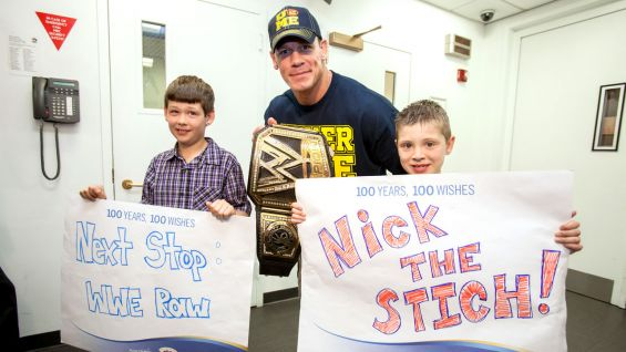"Nick ""The Stitch"" and his brother pose backstage at ""Today"" with Cena."