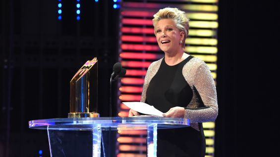 Joan Lunden in WWE Hall of Fame Induction Ceremony